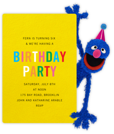 Hi, Grover - Sesame Street - Online Kids' Birthday Invitations