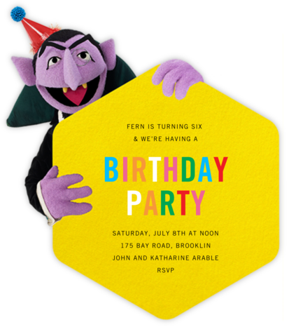 Let's Count Candles - Sesame Street - Online Kids' Birthday Invitations