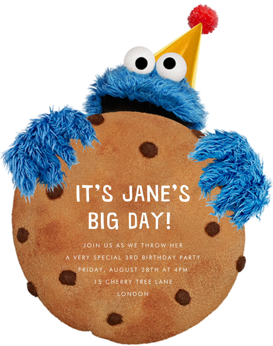 Monster-Size Cookie - Sesame Street - Sesame Street Invitations
