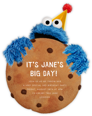 Monster-Size Cookie - Sesame Street - Online Kids' Birthday Invitations
