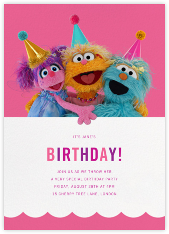 Rosita, Zoe, and Abby - Sesame Street - First Birthday Invitations