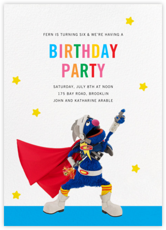 Super Grover - Sesame Street - Kids' birthday invitations