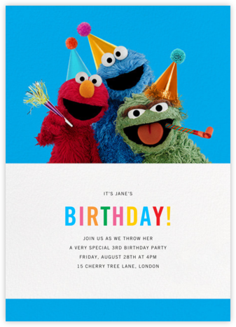 One Of These Things... - Sesame Street - Online Kids' Birthday Invitations