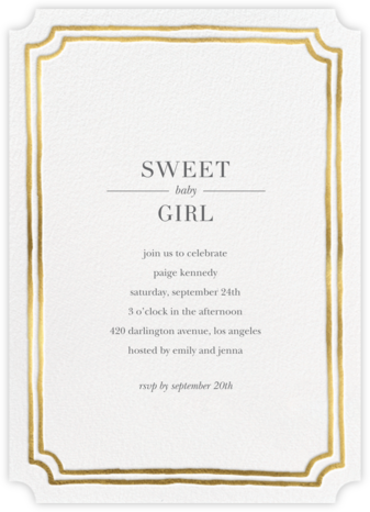 Roosevelt - Gold - Sugar Paper - Baby shower invitations