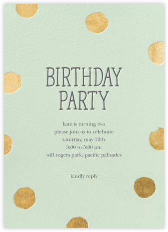 Big Dot Birthday (Tall) - Mint - Sugar Paper - Birthday invitations