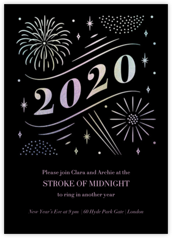 A Glowing New Year (Tall) - Paperless Post - New Year's Eve Invitations