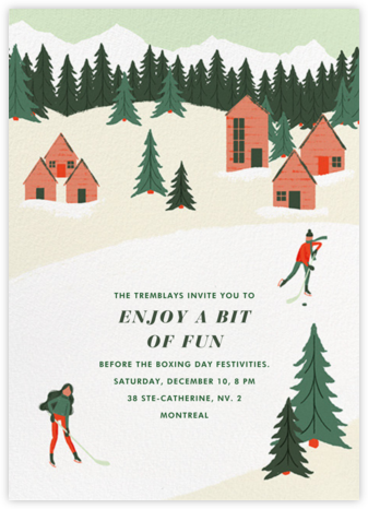 Holiday Hockey (Tall) - Paperless Post - Winter Party Invitations