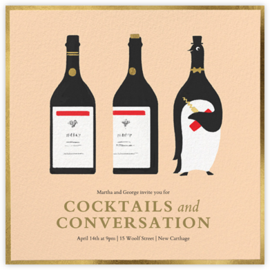 Penguin Popper - Paperless Post - Happy Hour Invitations