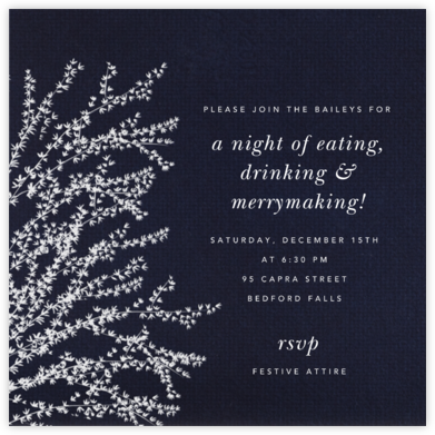 Forsythia - Midnight with White - Paperless Post - Winter Party Invitations