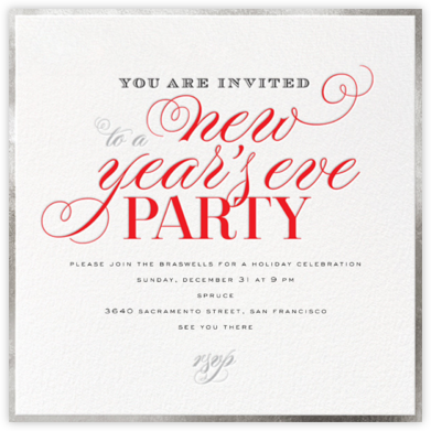 New Years  Flourish - Silver - bluepoolroad - New Year's Eve Invitations