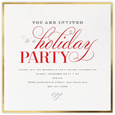 Holiday Flourish - Gold - bluepoolroad - bluepoolroad invitations and cards