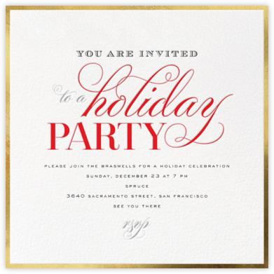 Holiday Flourish - Gold - bluepoolroad - Holiday party invitations