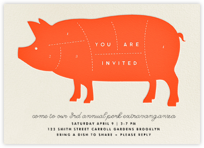 Pig - The Indigo Bunting - Dinner Party Invitations