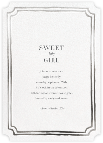 Roosevelt - Silver - Sugar Paper - Baby Shower Invitations