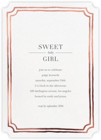 Roosevelt - Rose Gold - Sugar Paper - Baby Shower Invitations