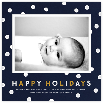Dots - Navy - The Indigo Bunting - Holiday Cards
