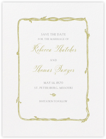 Hyde Park (Save the Date) - Moss Green and Charcoal Gray - Crane & Co. -