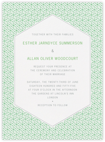 Parterre - Spring Green & Pewter Gray - Crane & Co. - Wedding Invitations