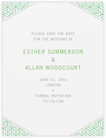 Parterre (Save the Date) - Spring Green and Pewter Gray - Crane & Co. - Save the dates