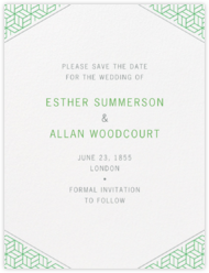 Parterre (Save the Date) - Spring Green and Pewter Gray
