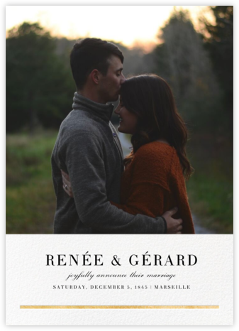 Underscore (Photo) - Gold - Paperless Post - Wedding Announcements