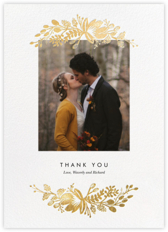 Floral Silhouette (Portrait Photo) - White/Gold - Rifle Paper Co. - Wedding thank you notes