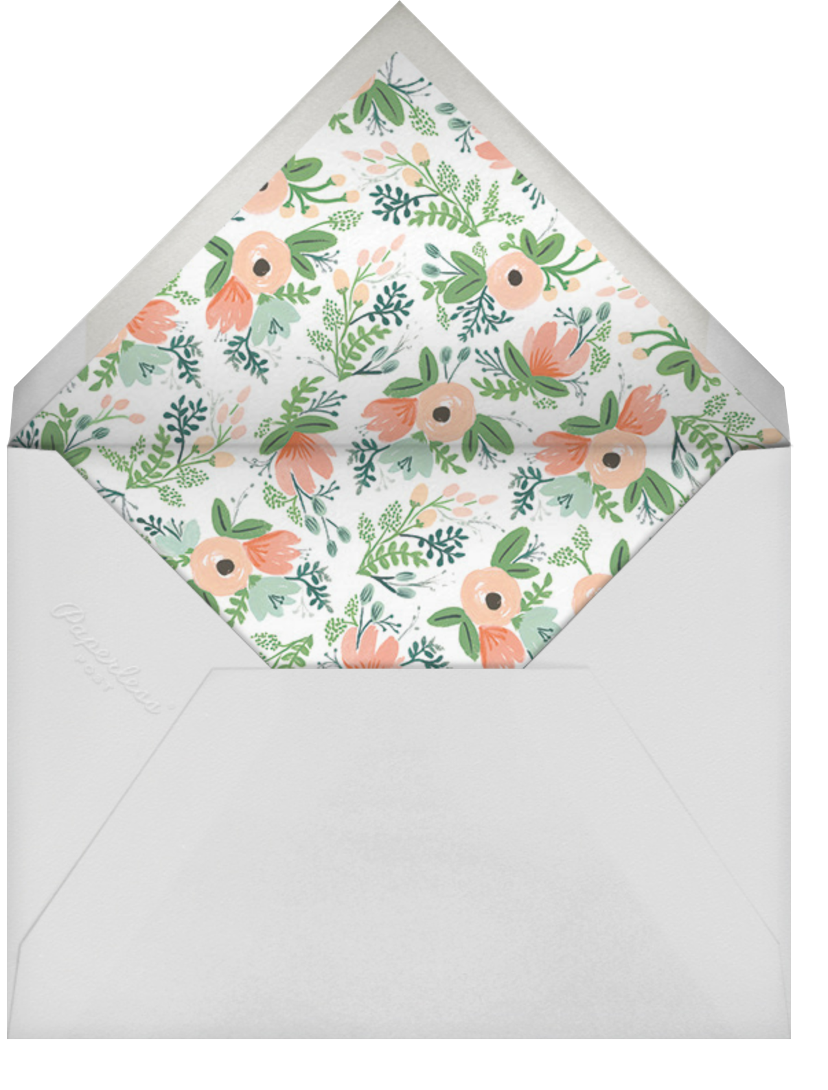 Floral Silhouette (Portrait Photo) - White/Rose Gold - Rifle Paper Co. - Wedding - envelope back
