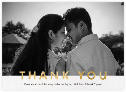 Field of Thanks Photo (Single-Sided) - Gold - Paperless Post -