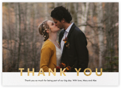 Field of Thanks Photo (Single-Sided) - Gold - Paperless Post - Wedding thank you notes