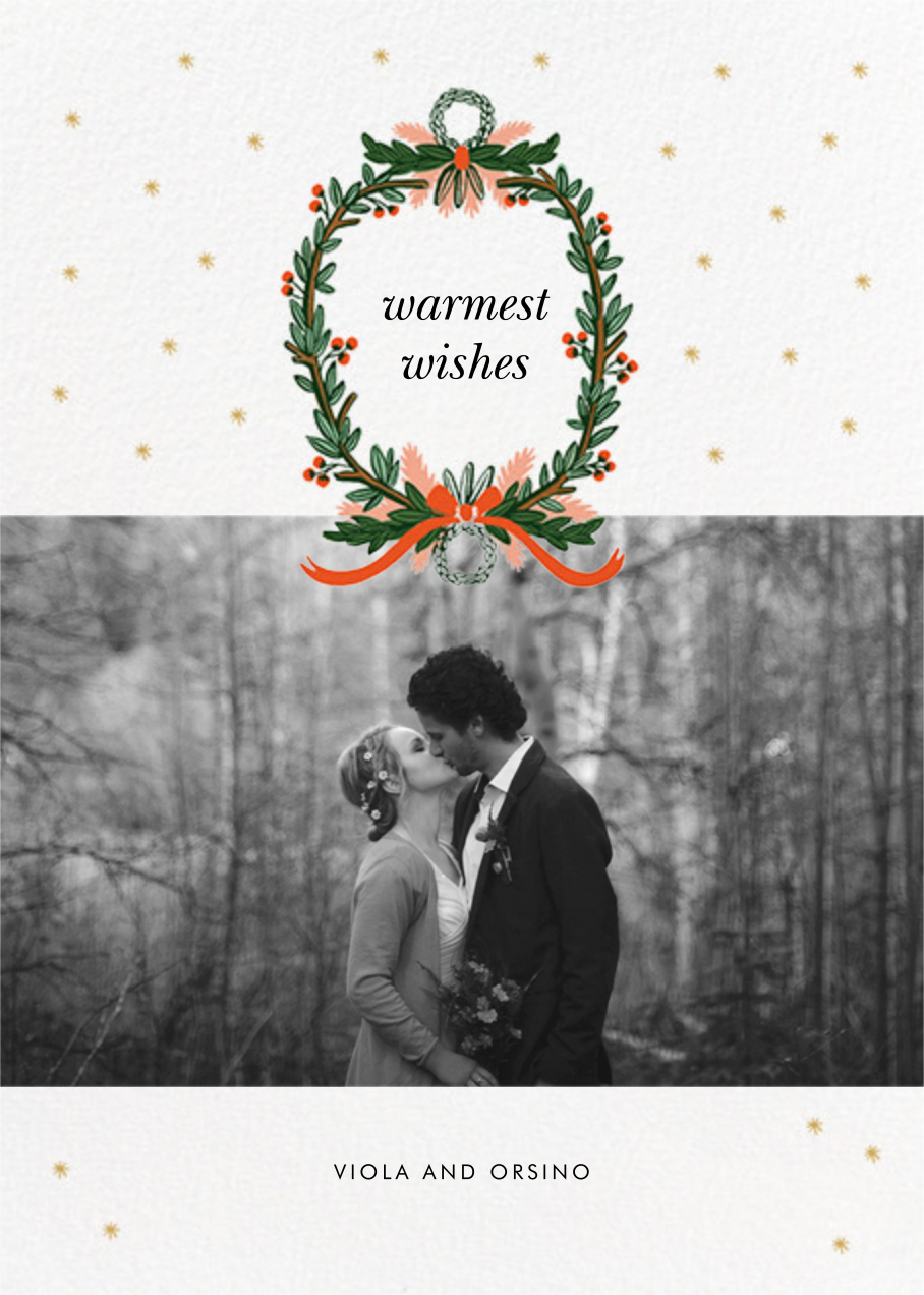 Midnight Wreath (Landscape Photo) - White - Rifle Paper Co. - Holiday Favorites