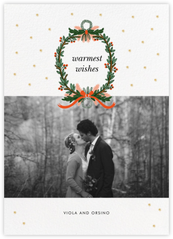 Midnight Wreath (Landscape Photo) - White - Rifle Paper Co. - Holiday photo cards
