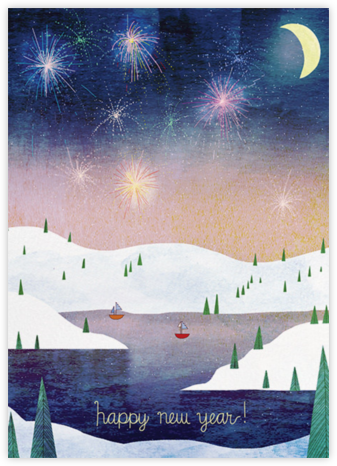 Boats and Fireworks (Josie Portillo) - Red Cap Cards - New Year Cards