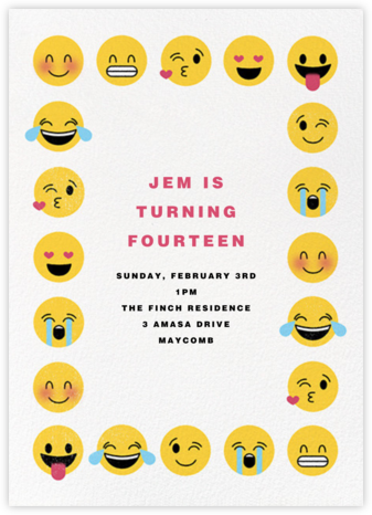 Emoji Border - Paperless Post - Online Kids' Birthday Invitations