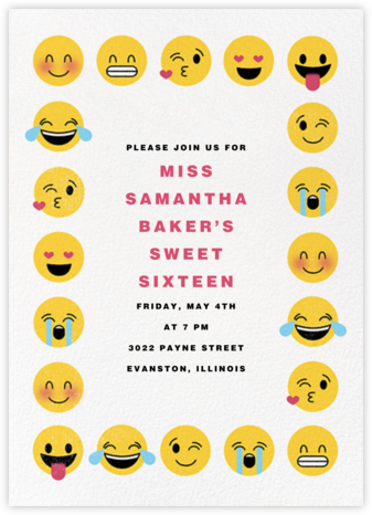 Emoji Border - Paperless Post - Sweet 16 invitations
