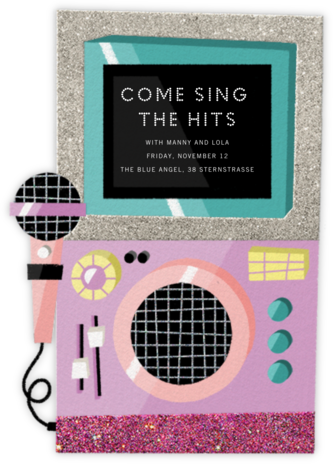 Karaoke Machine - Pink - Paperless Post - Adult Birthday Invitations