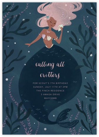 Mermaid Hideaway - Paperless Post - Kids' birthday invitations