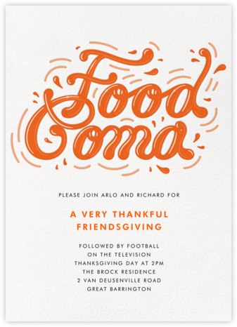 Food Coma - Paperless Post - Thanksgiving invitations