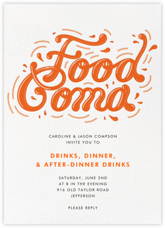 Food Coma - Paperless Post - Dinner Party Invitations