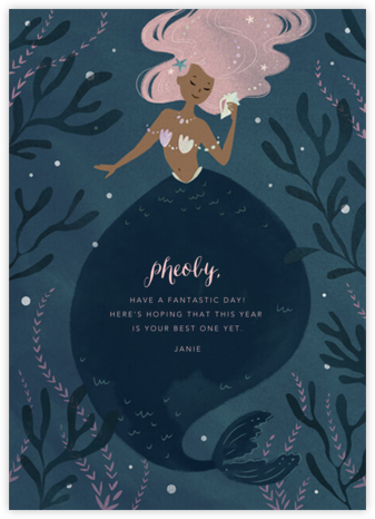 Mermaid Hideaway - Tan - Paperless Post - Birthday Cards