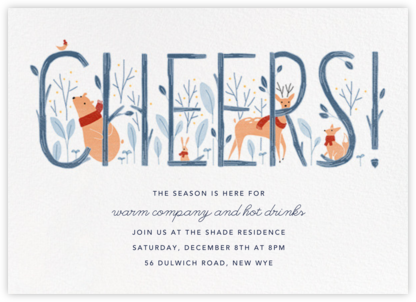 Woodland Toast - Paperless Post - Winter Party Invitations