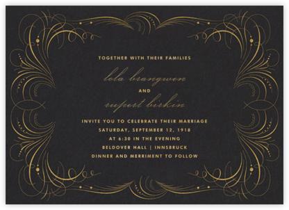 Gold Flourish - Black - The Indigo Bunting - Wedding Invitations