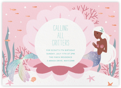 Mermaid Cove - Walnut - Paperless Post - Kids' birthday invitations