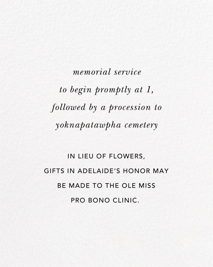 Simple Brushstroke - Sugar Paper - Memorial service - insert front