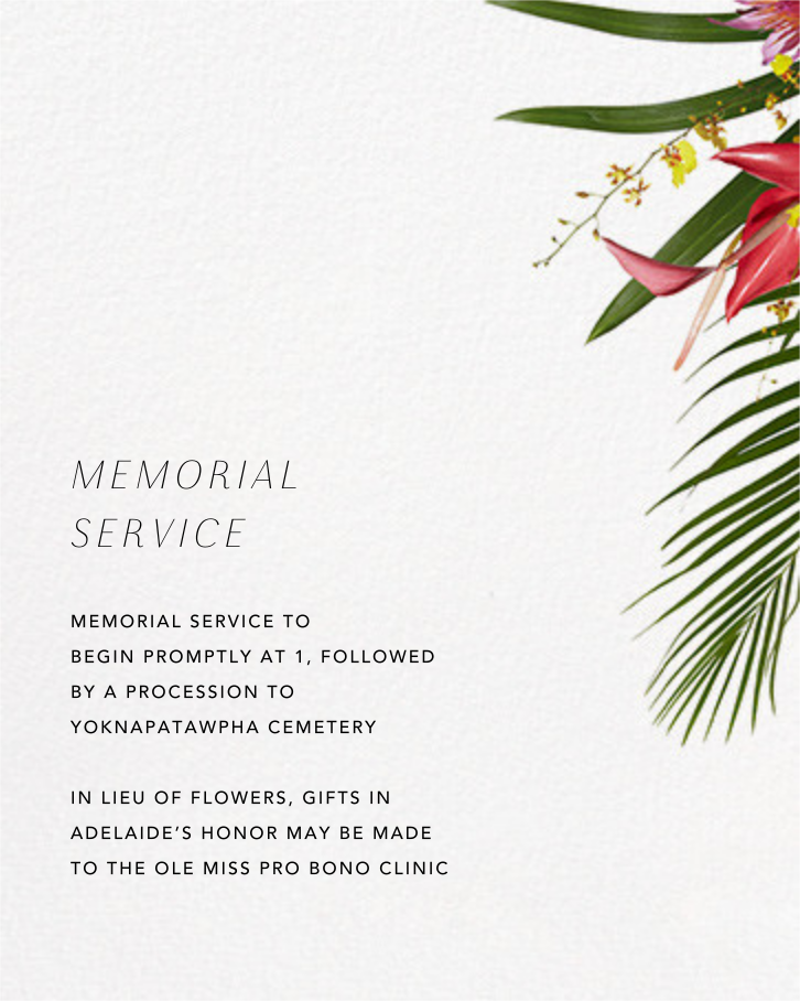 Malacca (Invitation) - Paperless Post - Memorial service - insert front