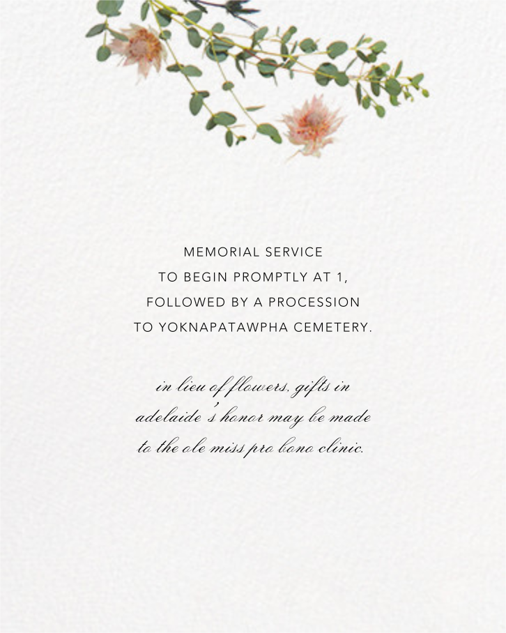 Fleurs Sauvages (Tall) - Paperless Post - Memorial service - insert front