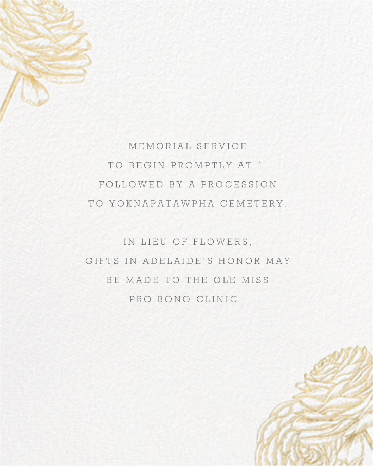 Ranunculus - Gold - Paperless Post - Memorial service - insert front