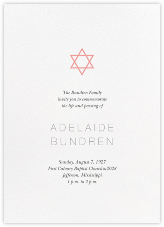 Guiding Star (Invitation) - White/Blossom - Paperless Post - Memorial service