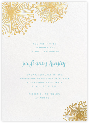 Dandelion (Invitation) - White/Gold - Paperless Post - Memorial service