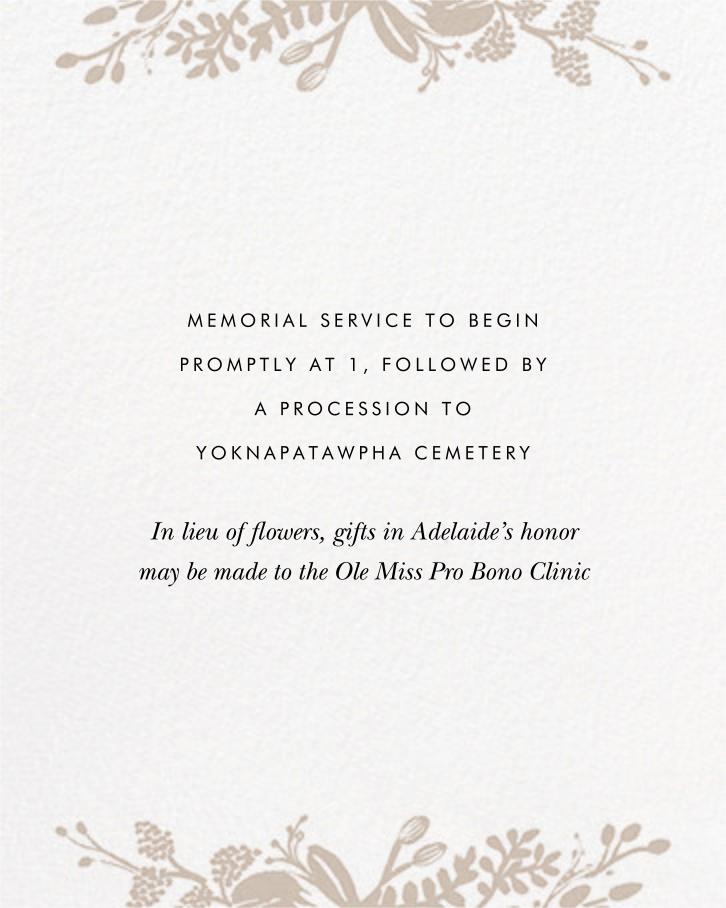 Floral Silhouette (Invitation) - White/Gold - Rifle Paper Co. - Memorial service - insert front