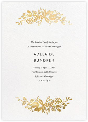 Floral Silhouette (Invitation) - White/Gold | tall